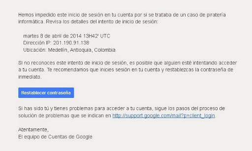 Mensaje advertencia google