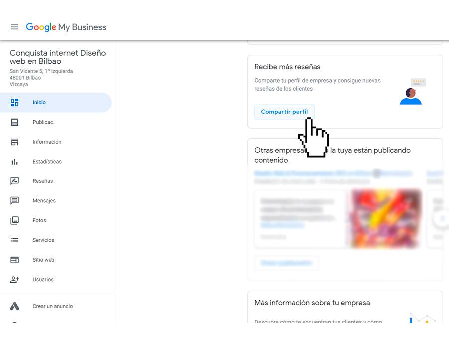 Enlace para pedir reseña Google Conquista internet